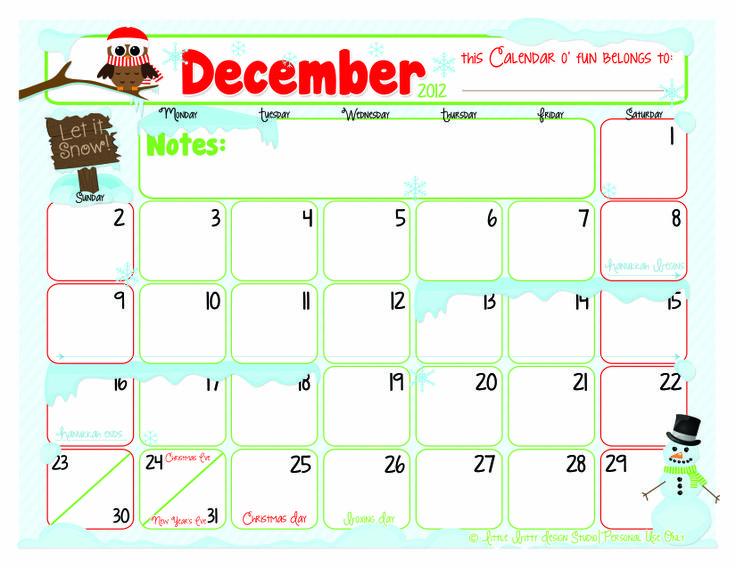Cute December 2012 Calendar cute calendar december 2012 free- 2012 ...