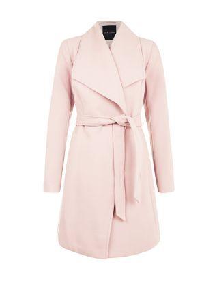 Manteau rose croisé à ceinture   New Look