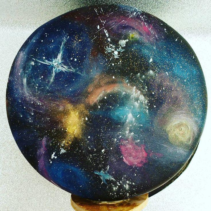"Galaxy effect cake. Painted using gels and dusts on fondant @1.21gigawattsgirl on Instagram: ""A galaxy far, far away.... #cakedecorating #space #galaxy #fortheloveofcake"""