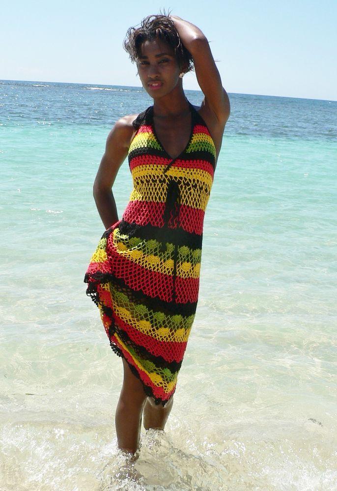 CROCHET DRESS HANDMADE JAMAICAN COLORS 02. UK SELLER  | eBay