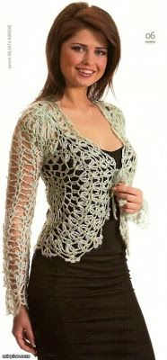 Jacket woven openwork crochet, elegant and beautiful. With chart