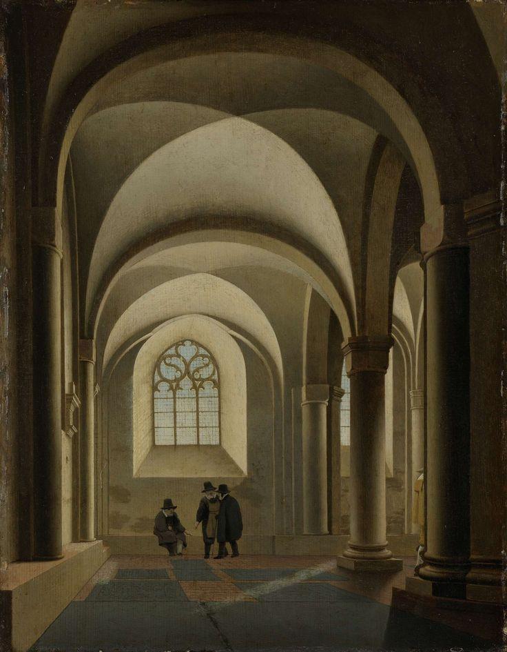 De westelijke traveeën van de zuidelijke beuk van de Mariakerk te Utrecht, Pieter Jansz. Saenredam, ca. 1640 - ca. 1645. Tegen de zuidmuur links het grafmonument van Jan van Scorel.