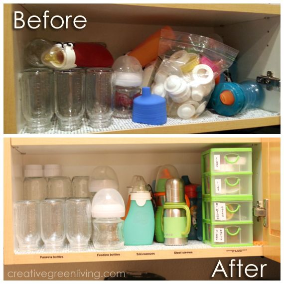 How to Organize Sippy Cups and Baby Bottles ~ Creative Green Living