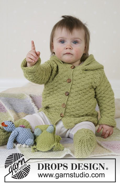 Green Leaf / DROPS Baby 14-3 - Jacket, jumpsuit, socks, soft toys and blanket in Alpaca