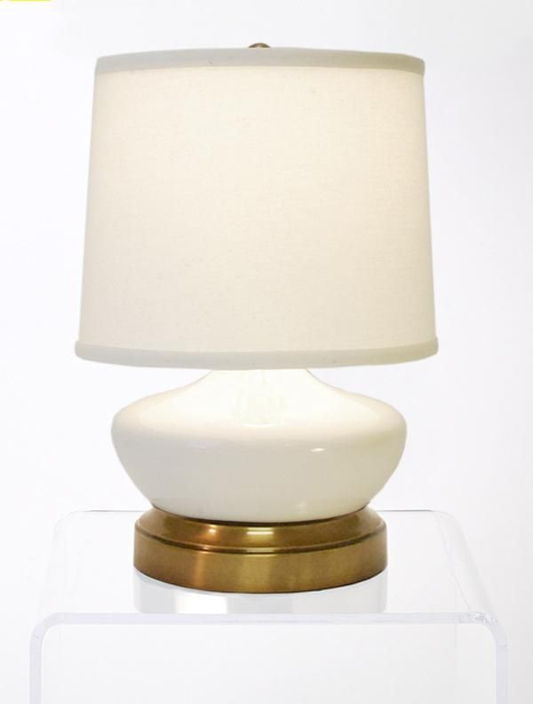 Bella Ivory Brass Mini Cordless Lamp - Made in the USA - Modern Lantern