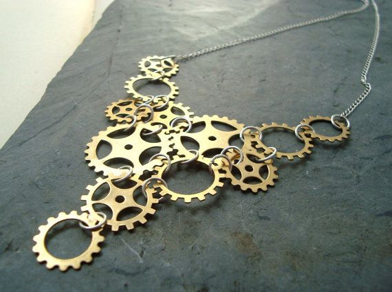 Brass Steampunk Necklace Statement Jewelry by CyclamenStudio, $48.00
