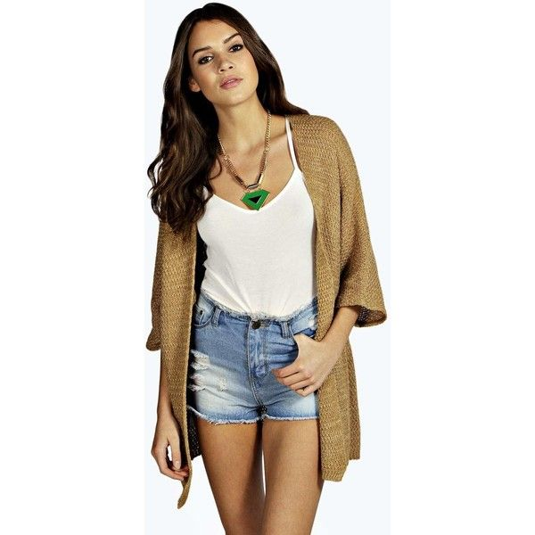Boohoo Lucy Loose Knit Batwing Cardigan ($20) ❤ liked on Polyvore featuring tops, cardigans, camel, batwing sleeve cardigan, loose tops, open front knit cardigan, knit tops ve camel cardigan