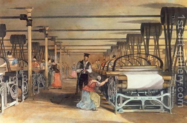 Thomas Allom:Power loom weaving, 1834