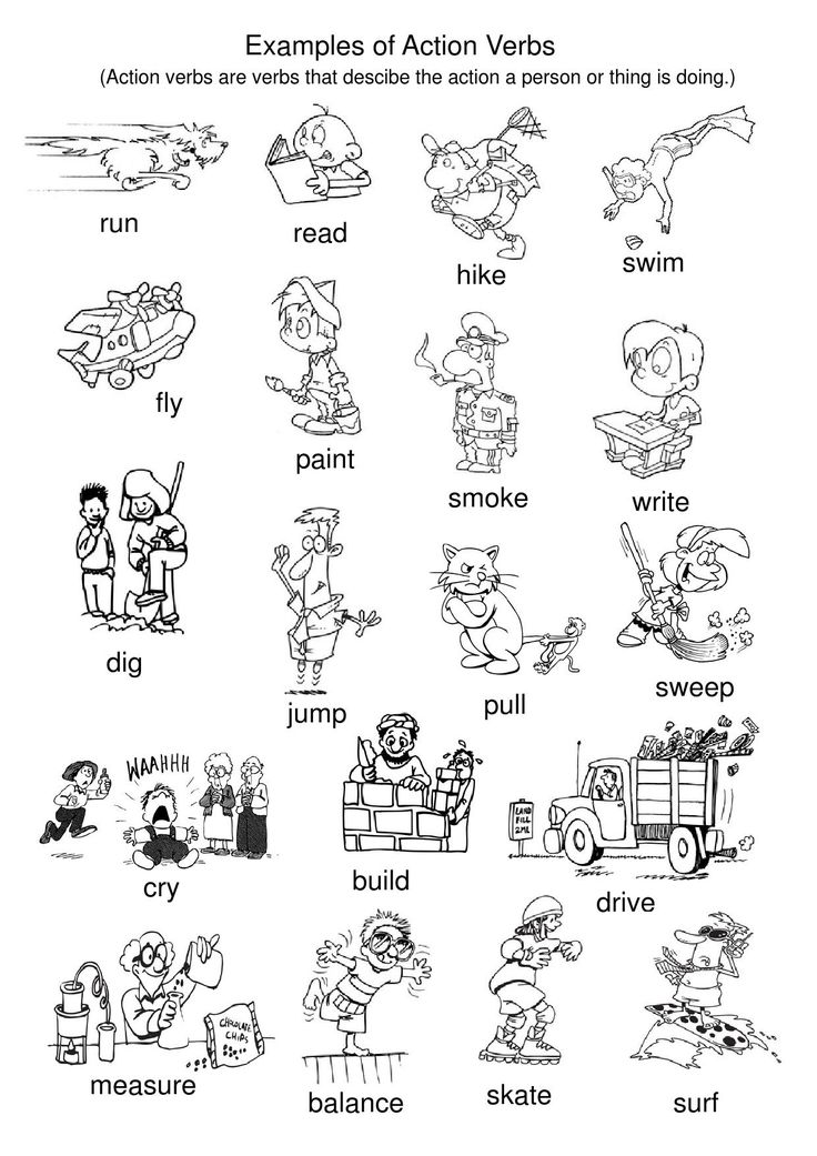 Examples of Action Verbs Visual motor activities, Action