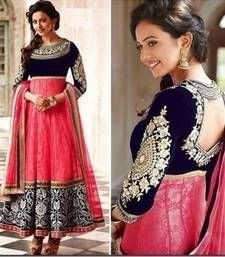 Buy Pink net embroidered unstitched salwar with dupatta dress-material online