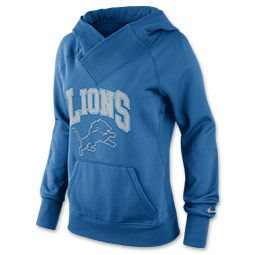 Women's Nike Detroit Lions NFL Wildcard All Time Rib Hoodie | FinishLine.com | Battle Blue/Wolf Grey