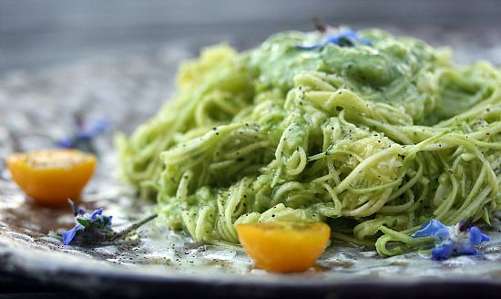 Zucchini Noodles with Avocado Dressing (Raw)