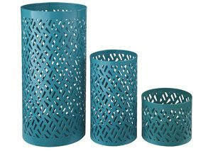 Caelan Teal Candle Holder (Set of 3),48 Hour Quick Ship