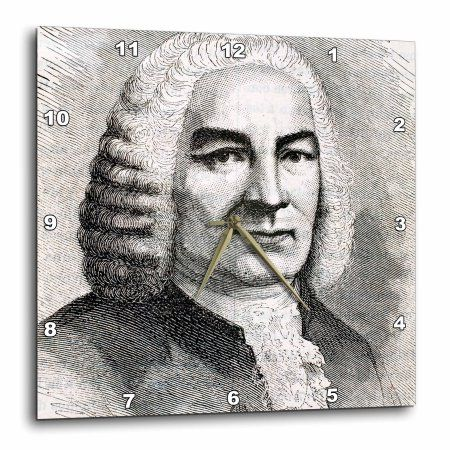3dRose Engraving of Bach, German composer, Historical Art - HI12 PRI0216 - Prisma, Wall Clock, 13 by 13-inch