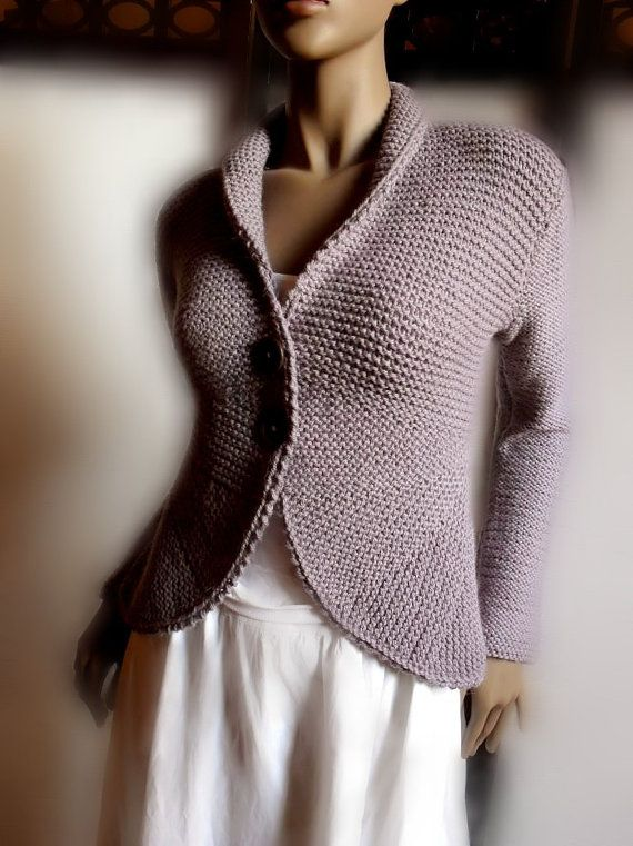 Handknit Jacket Sweater with rounded edges long sleeves by Pilland, $230.00