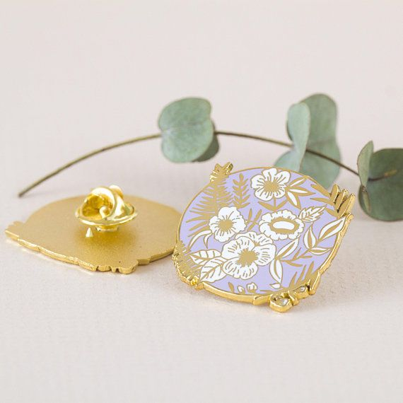 Lilac Flowers Gold Enamel Pin | Accessories | Pin badges