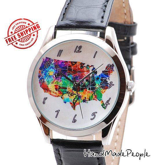 USA Map Watch | Mother's Day Gift | Watercolor Art United States Map | Patriotic Gifts Men | 4th July