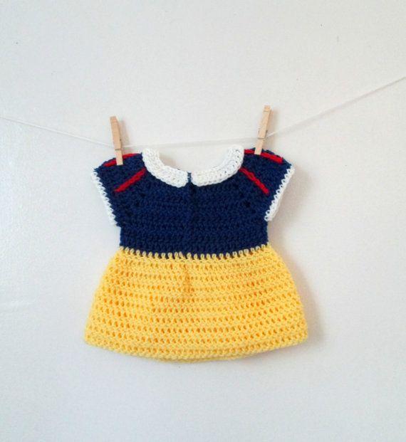 Free Crochet Pattern For Snow White Dress : Crochet Snow White Inspired Baby Dress 0-3 months