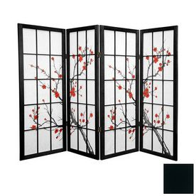 Oriental Furniture Cherry Blossom 4-Panel Black Folding Indoor Privacy Screen LOWES HAVE SCREENS ($153)