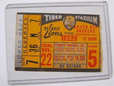Nov 22, 1962 Detroit Lions vs Green Bay Packers Ticket Stub