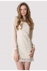 Ivory Floral Lace Dress with Chiffon Sleeves