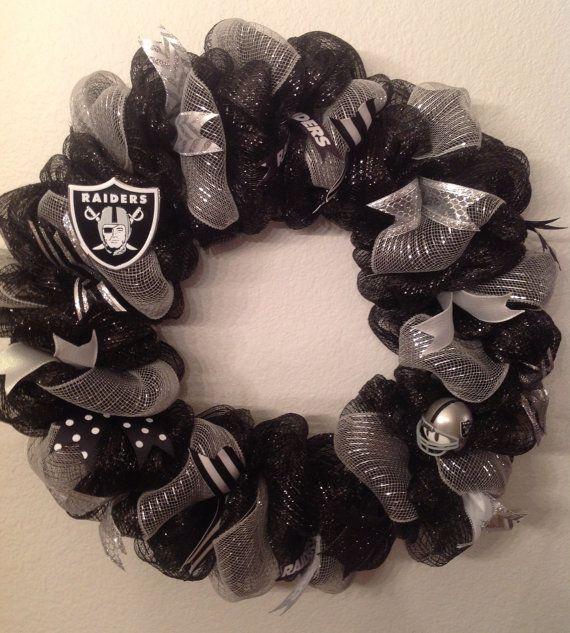 Nfl Oakland Raiders Wreath Deco Mesh Door Hanger by SportsNutz