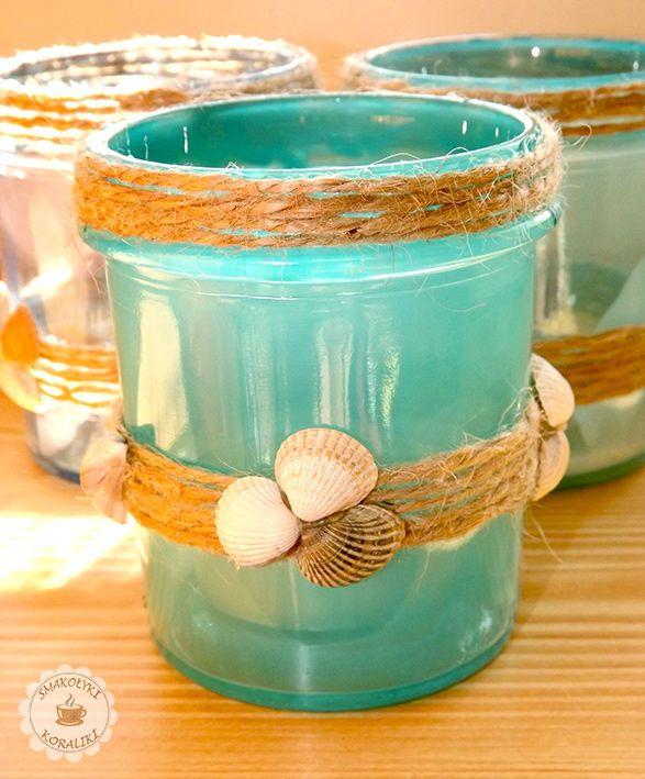 Świeczniki z muszelkami – odrobina morza na balkonie | Smakołyki i koraliki