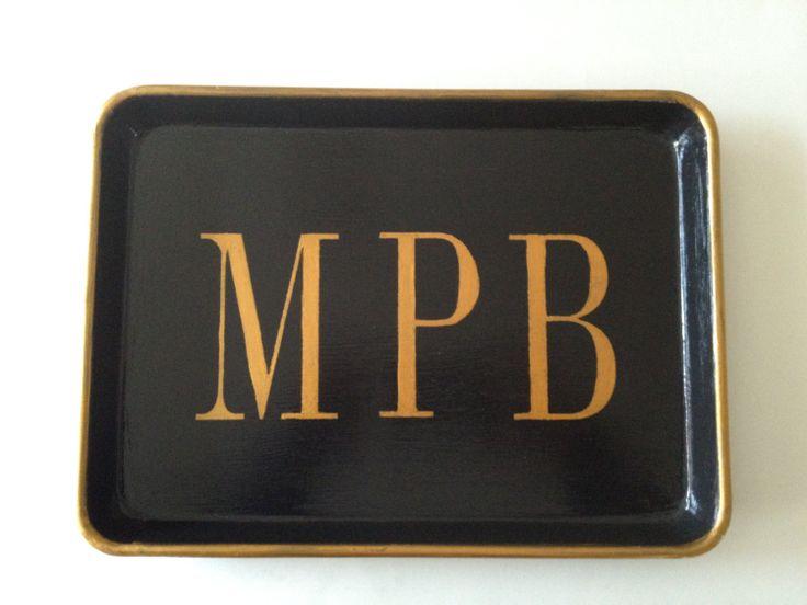 M gold mens monogram black tray.