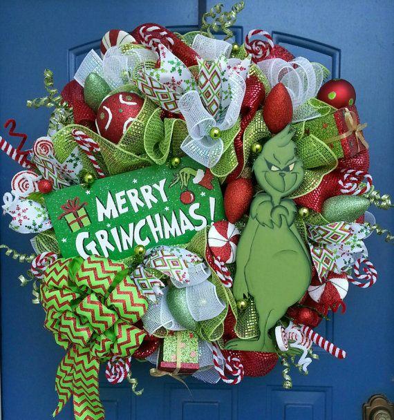 Christmas deco mesh wreath The Grinch The by WonderfulWreathsKim