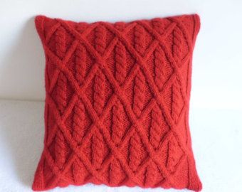 Diamond Cable Knit Cherry Red Pillow Cover, Hand Knit True Throw Pillow, Decorative Pillow Case, 16X16 Red Cushion Cover