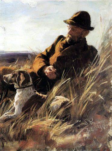 Peder Severin Krøyer (dán festő)  Vadász kutyával 1898., olaj vásznon, 32*43 cm
