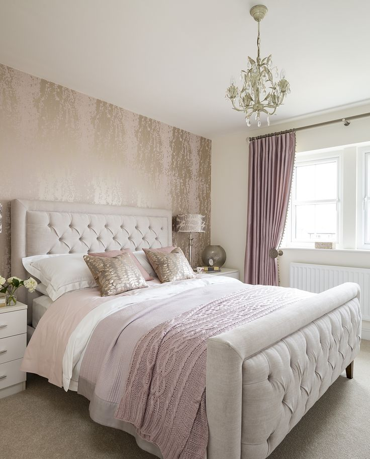 The master bedroom features the plush Jerome Bed which has been dressed with dusky pink and cream bedding and the beautiful Theon Gilt Sequined Cushions for a sumptuous feel.