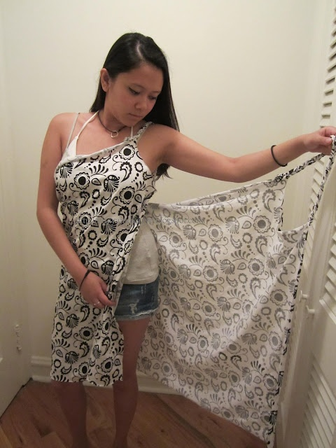 DIY beach wrap...what a great idea! Use an over sized bath towel for after bath wrap!