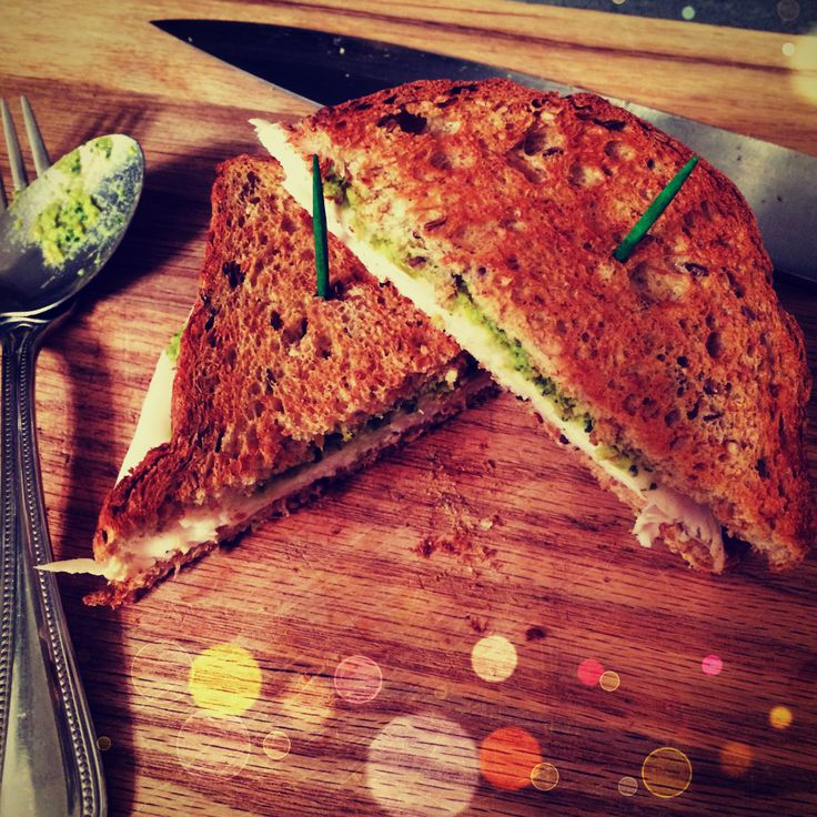 turkey pesto sandwich on ezekiel bread!