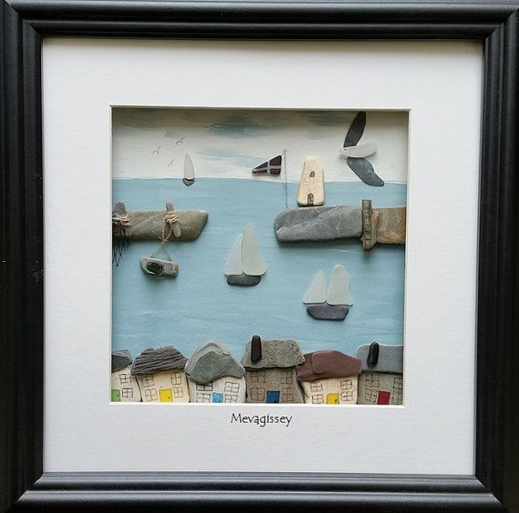 Mevagissey Pebble Art Sea Glass Art by CornishPebbleArt on Etsy