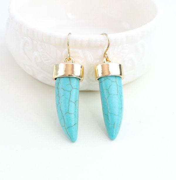 Летний стиль бирюзовый камень серьги Brincos ювелирные изделия мода букле D'oreille серьги для женщин