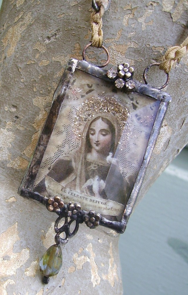 ❥ Silver Soldered Vintage Art Deco Ballerina Rhinestone Assemblage Pendant Necklace by Romancing the Bling