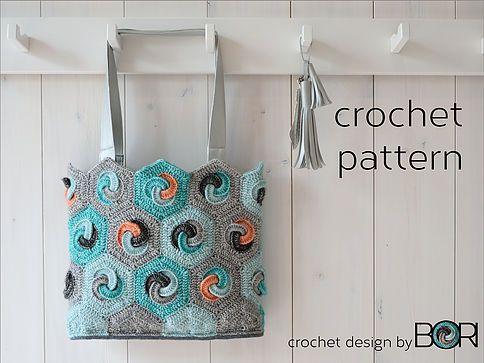 crochet bag pattern - hexagonal granny squares - cotton yarn, diy