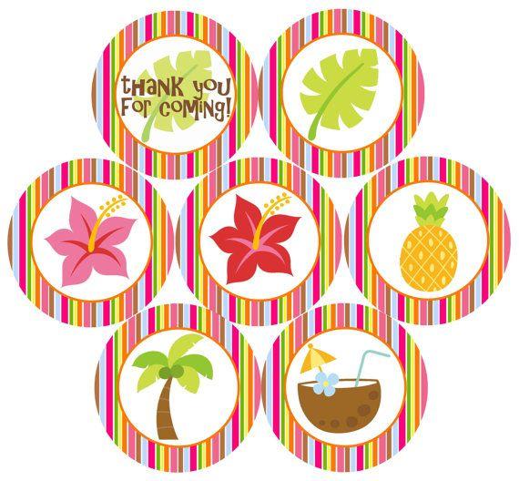 Hawaiian Luau Party  25 Cupcake Toppers / Favor by CitrusPaperCo, $3.00