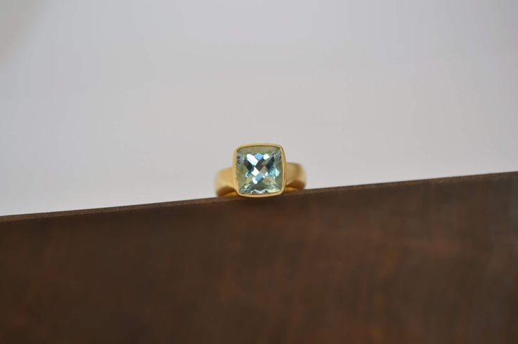 Blue Topaz Ring Solid 18k Gold Ring Blue Stone Gold Ring Gold Proposal Ring Wife Anniversary Ring Sky Blue Gold Ring Natural Blue Topaz by ViazisJewelry on Etsy