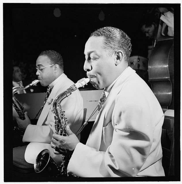 Johnny Hodges (f) and Al Sears. Here (http://www.youtube.com/watch?v=iqfOLW9yaog) with Harry Carney and assorted crew, recording for Impulse! in 1964.