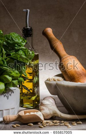 pesto raw ingredients over wood