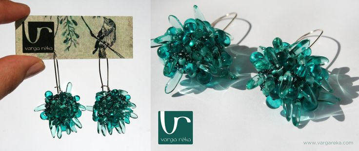 Fuzzy turquoise wire crocheted earrings made of tiny petals http://www.vargareka.com/