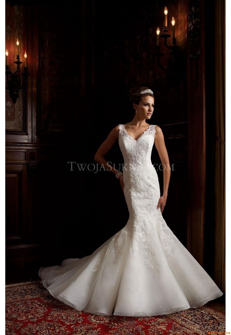 Elegant V-neck Mermaid Court Train Sexy Wedding Dresses Mon Cheri 113201 - Theda David Tutera