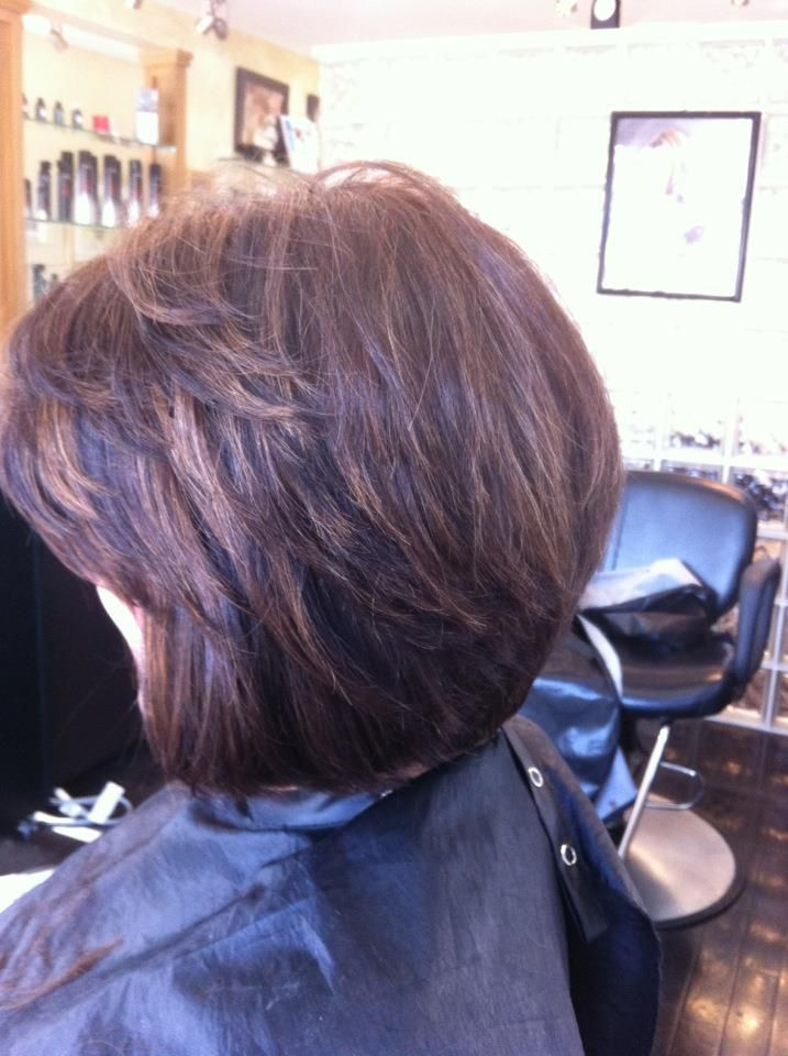 Brunette With Caramel Highlights Layered Bob With Side