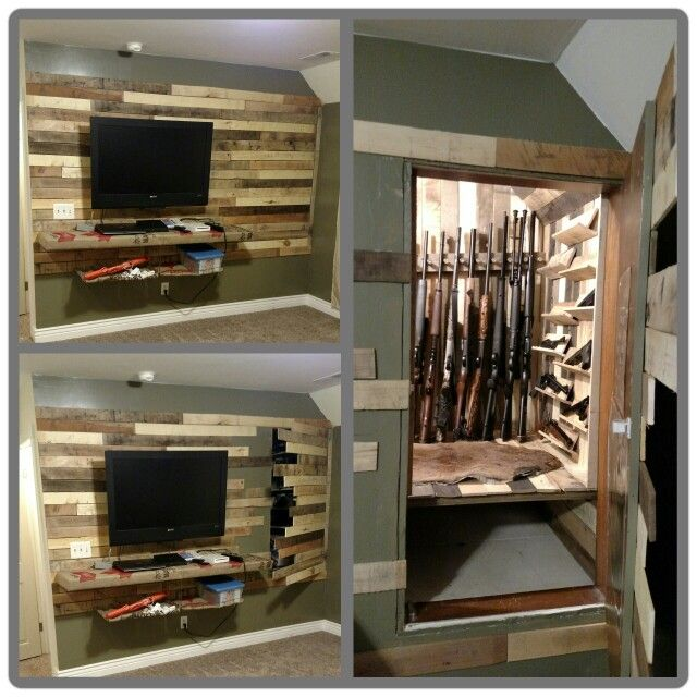Hidden gun storage above a stairway using pallet wood a for Hidden gun room