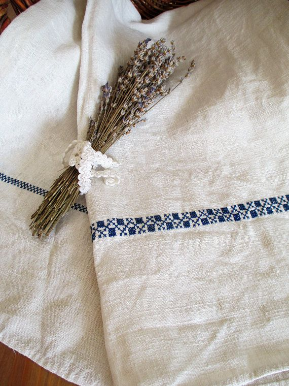259. Pure flax linen hand embroidered towel guest toweltea