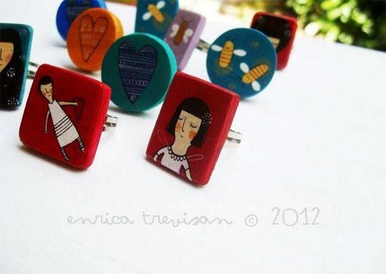 Hand painted accessories by Enrica Trevisan - www.ImaginativeBloom.com