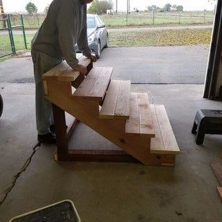 Best Self Standing Staircase Outdoor Wood Steps Mobile Home 640 x 480