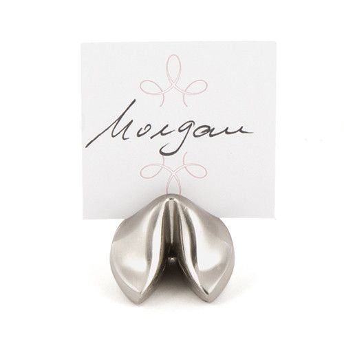 Silver Fortune Cookie Place Card Holders Continue the Asian theme at your party or wedding receptions with the sleek design of the Fortune Cookie place card hold